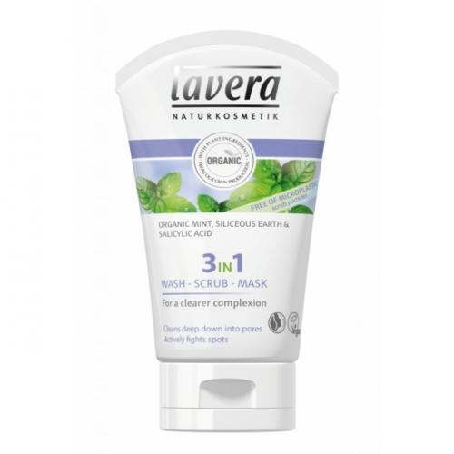 Gel de curatare scrub si masca 3 in 1 – purificator & antiacnee – Lavera – 125 ml