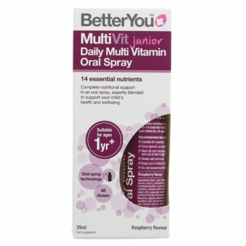 Spray oral MultiVit Junior - Better You - aroma de zmeura - 48 de utilizari - uz intern - 25 ml - Mancare BIO - Suplimente / Vitamine